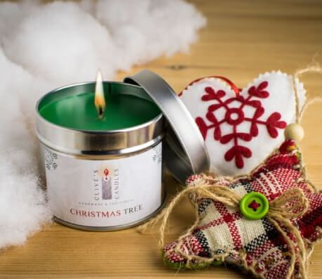 Christmas Tree Scented Candle, Pine Cones